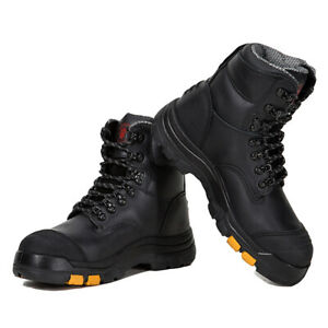 ROCKROOSTER Men's Work Boots Steel Toe Rubber Sole Safety Water Resistant Shoes