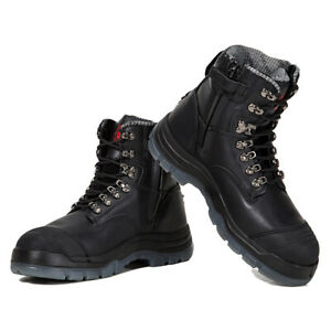 ROCKROOSTER Work Boots Steel Toe SideZipper Safety Water Resistant Leather Shoes