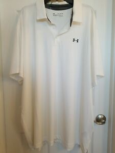 NWT ~ UNDER ARMOUR HEAT GEAR LOOSE WHITE LOGO MEN'S POLO SHIRT      SIZE 4XL