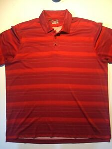 Under Armour Striped Polo Shirt MENS Extra LARGE Red HeatGear XL Golf