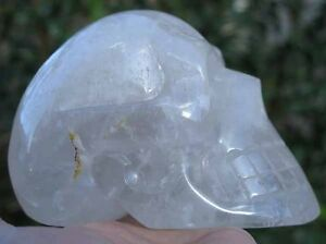 2LB 15.9OZ Fantastic Natural Rainbows Quartz Rock Crystal Carving Art Skull