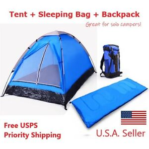 3 Piece Bundle 1 Person Camping Gear Set Tent Sleeping Bag Backpack