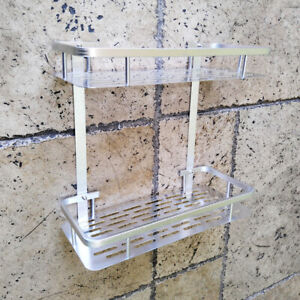 Wall Mount Bathroom Shelf Rack 12 In. Aluminum Shower Organizer Storage Holder