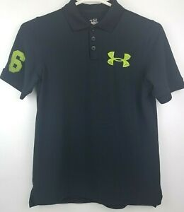 Under Armour Heatgear Size Youth Large Black Lime Green Polo S S Shirt Excellent $15.66
