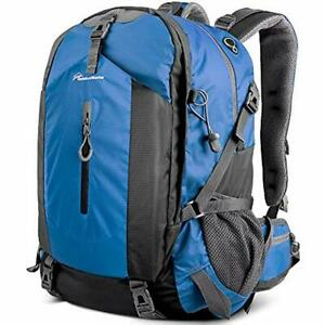 OutdoorMaster Hiking Backpack 50L - WWaterproof Cover Blue Sports