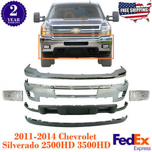 Front Bumper Chrome WFog Lights Kit For 2011-2014 Chevy Silverado 2500HD 3500HD