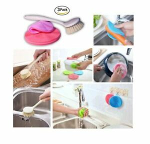 2 Dish Washing Silicone Sponges with Pot and Pan Brush Multipurpose Set