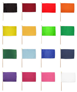 Solid Color Flag 12x18 Blank Stick Flag Red Orange Yellow Green Blue White Black