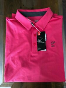 1 NWT UNDER ARMOUR MEN'S GOLF POLO SHIRT, SIZE: X LARGE PINK $49.99
