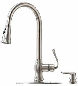 NEW Pull Down Kitchen Faucet with Sprayer and Soap Dispenser - Brushed Nickel