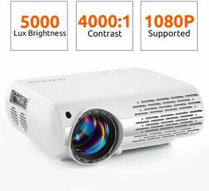 5000 Lux Theater HD Projector 1080P Work with PhonePCMacTV StickPS4HDMIUSB
