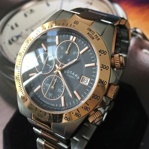 Mens Rotary Watch Chronograph Rose Gold Steel Black Dial Genuine GB00278/04