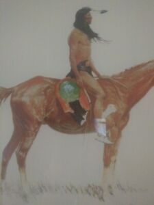 This circa 1901 colored lithograph is by Frederic Remington (1861 – 1909).