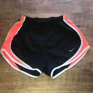 Women's Black and Orange Nike DRI-FIT Lined Running Shorts Adult Size Small