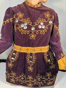 1940 ANTIQUE FRATERNAL MASONIC REGALIA COSTUME Scrolled Tunic Purple Gold Velvet