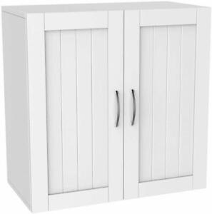 Cabinet Over Toilet Bathroom Space Saver Storage Shelf Rack Organizer Wood White