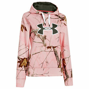 Under Armour Hoodie Women's Large UA Big Logo Pink Camo Hoody New With Tags