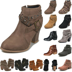 Women Retro Buckle Ankle Boots Low Mid Block Heels Shoes Motorcycle Booties Size