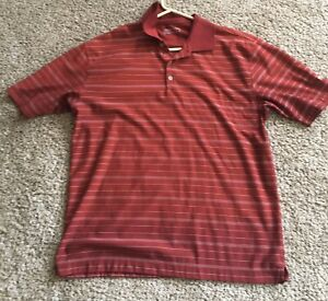 Nike Golf Mens Fit Dry Polo Shirt Red White Striped Size Large