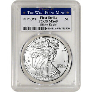 2019 W American Silver Eagle PCGS MS69 First Strike West Point Label