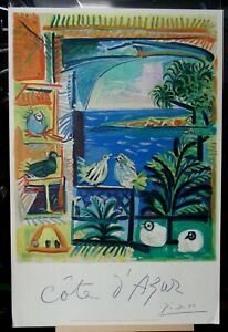 Original 1962 Lithograph Cote D'Azur French Travel Poster by Picasso
