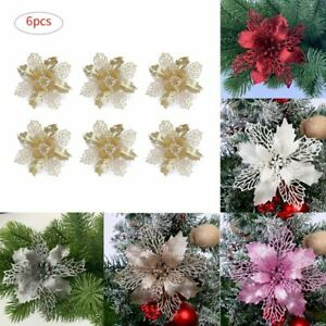 6 Pcs Glitter Christmas Flower Tree Hanging Ornaments Festival Xmas Decor
