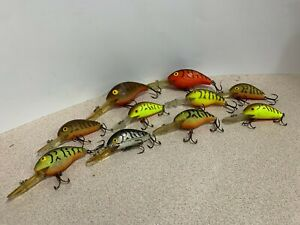 10 Assorted Old Style Rebel Lures in good shape used