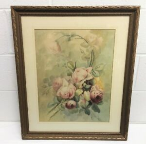 ANTIQUE VICTORIAN PINK ROSES BOUQUET WATERCOLOR PAINTING ORIG FRAME COTTAGE CHIC