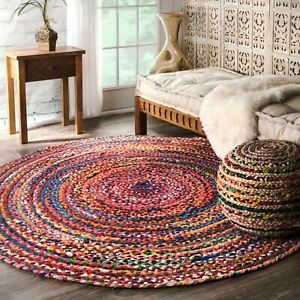 nuLOOM Hand Made Bohemian Braided Cotton Area Rug in Multi Color Chindi Round