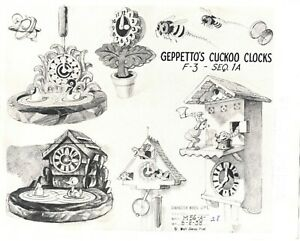 Pinocchio 1930s Animation Lithograph Model Sheet Geppettos Clocks Walt Disney f3