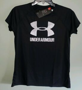 NEW Under Armour Girls Youth S M XL Short Sleeve Logo Tee BLACK WHITE #42819 $13.95