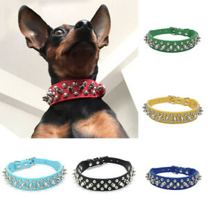 Collar Studded Small PU Chihuahua for Puppy Leather Dogs Dog Spiked Rivet