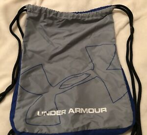 Under Armour Blue  Gray Drawstring Backpack Gym Bag