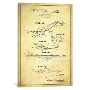 iCanvas Fishing Tackle Vintage Patent Blueprint by Aged