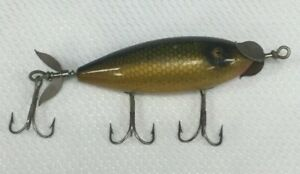 Antique Vtg South Bend Surf Oreno Wood Fishing Lure Perch Scale Paint Glass Eyes