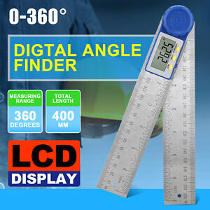 Electronic Digital Angle Finder 8quot; Protractor Ruler Stainless LCD With batteries $13.97