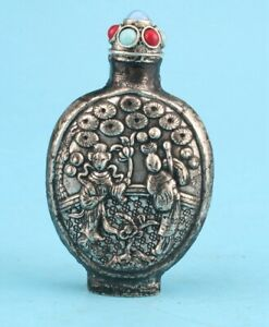 RARE CHINA TIBET SILVER HAND-CARVED SNUFF BOTTLE HIGH-END GIFT COLLEC OLD