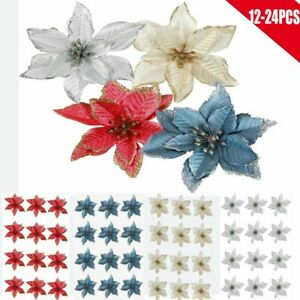 12 24X Christmas Glitter Flower Tree Hanging Ornaments Festival Xmas Party Decor