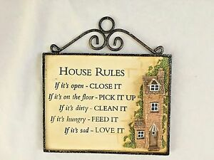 Metal amp; Pottery 7X7.5quot; Sign: HOUSE RULES