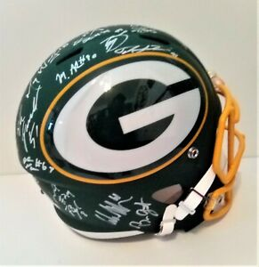 2019 GREEN BAY PACKERS Team SIGNED AMP Style Full Size Green Football Helmet
