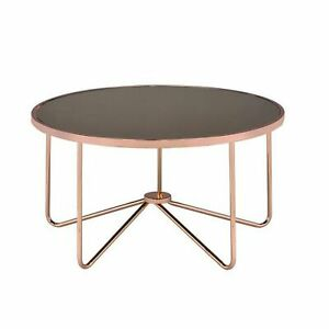 Charming Coffee Table Smoky Glass & Rose Gold glass & copper