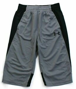 Under Armour Men's Fitted Long Basketball Athletic Shorts GrayBlack 1306132 XL