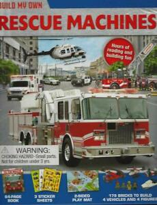 Build Own Rescue Machines 4 Figures Book Play Mat Stickers 179 Bricks 6 Yrs New