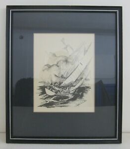 Christopher Paul Bollen (Seattle) 70s Nautical Sailboat Lithograph Framed 14x17