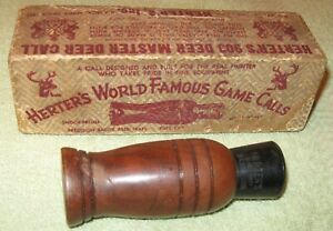 ANTIQUE VINTAGE WOODEN SIGNED HERTERS 903 MASTER DEER CALL IN ORIG BOX WASECA MN