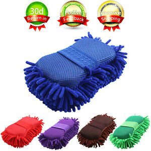 Car Auto Hand Wash Towel Microfiber Washing Gloves Coral Sponge Cleaning Tool