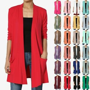 TheMogan S 3X Casual 3 4 Sleeve Slouchy Pocket Jersey Knit Open Front Cardigan $18.99