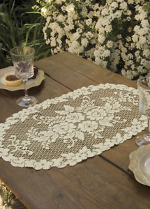 Heritage Lace ECRU Victorian Rose 13quot;x24quot; Doily Made in USA $9.85