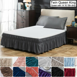 14'' 16'' 18'' Drop Bed Skirt Dust Ruffle Wrap Around Twin Full Queen King Size
