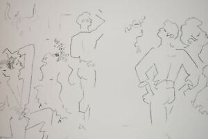 French Artist Poet Jean Cocteau Original ithograph Signed Stamped Figures